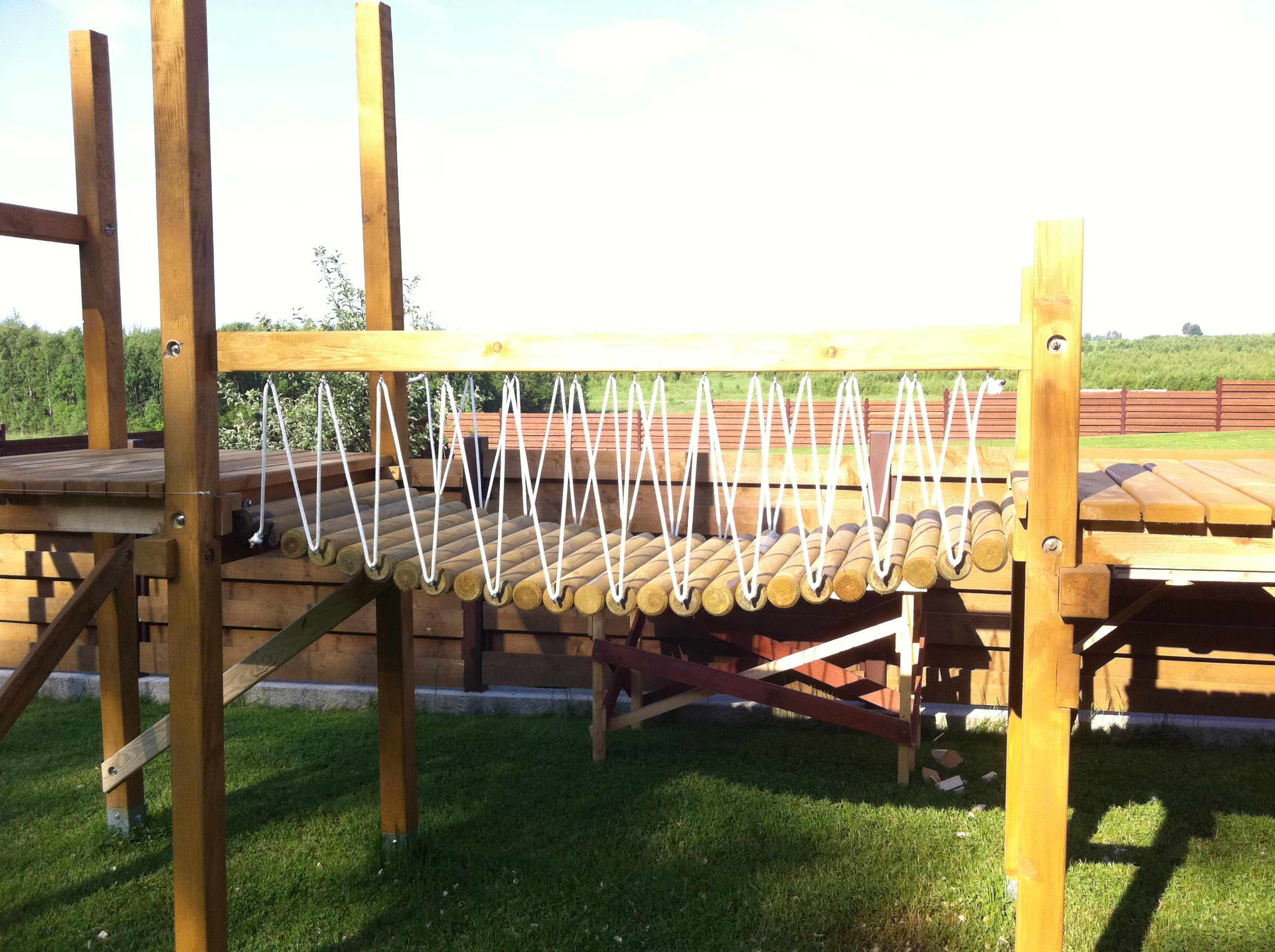 DIY rope bridge walkway playset swingset wood | PROJECTS \ outdoor |  Pinterest | Rope bridge, Walkways and Woods